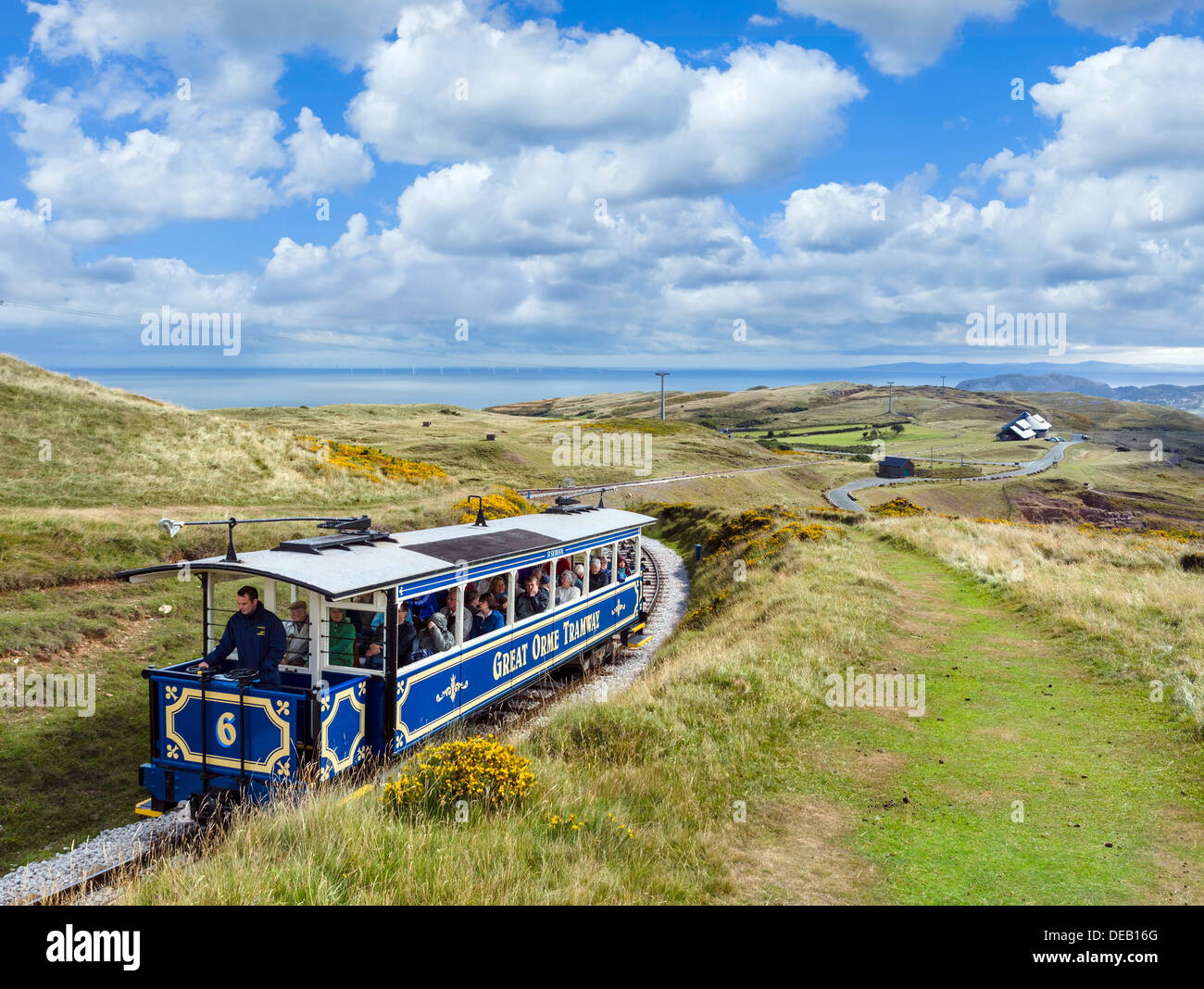 Upper section of The Great Orme Tramway looking down towards the town, The Great Orme, Llandudno, Conwy, North Wales, Stock Photo