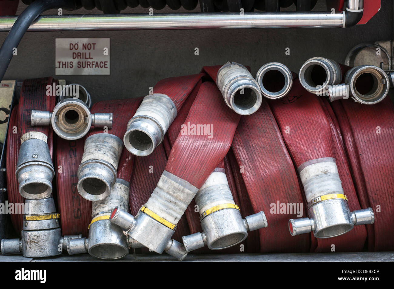 fire brigade hose pipes Stock Photo