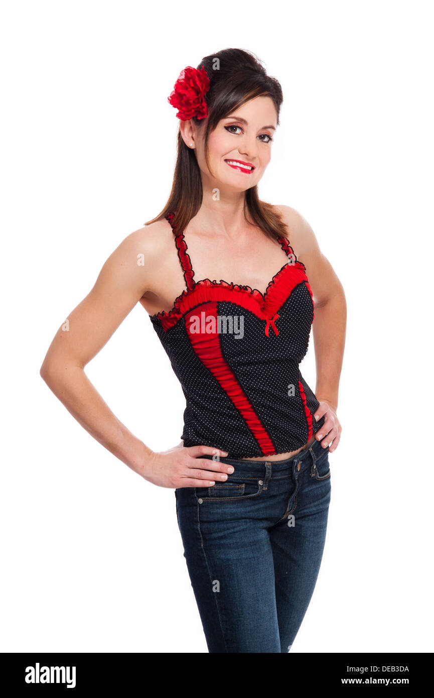 859640e0ddfe Woman With Black Bustier Stock Photos & Woman With Black Bustier ...