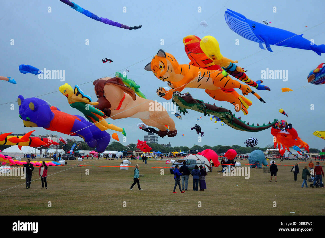 THE ANNUAL KITE FESTIVAL AT SOUTHSEA, HAMPSHIRE AUGUST 2013 Stock Photo