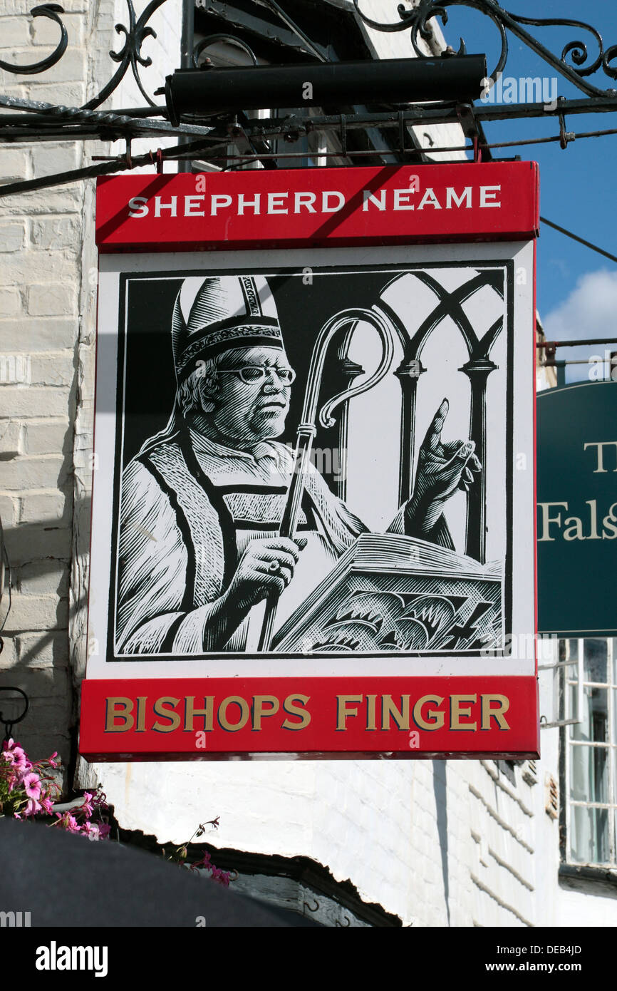 Sign above the 'Bishops Finger' public house in Canterbury, Kent, UK. - Stock Image