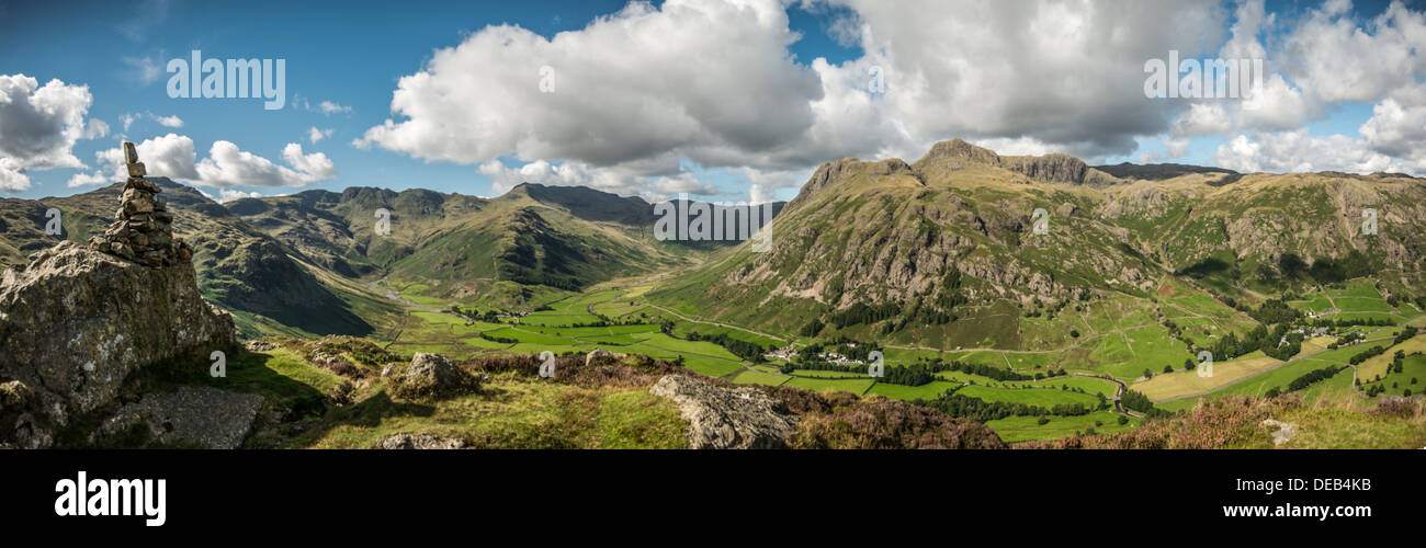 Langdale Pikes, Langdale Valley, Lake district, Cumbria, UK, Pike of Stickle, Loft Crag, Pavey Ark, Harrison Stickle, Panoramic Stock Photo