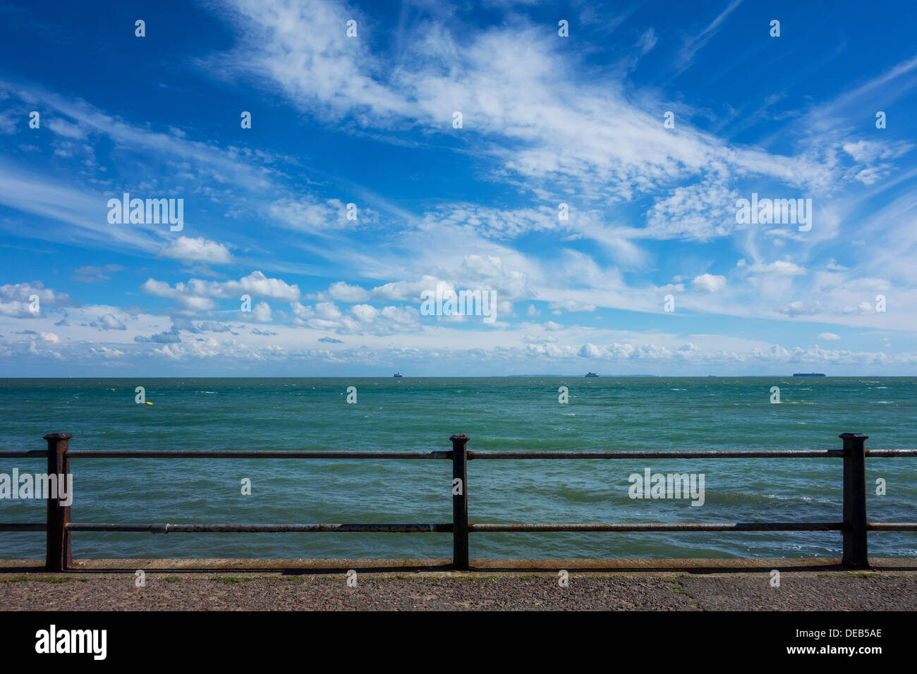English Channel Seascape Skyscape Promenade Waves Sea.  St Margarets Bay Dover Kent - Stock Image