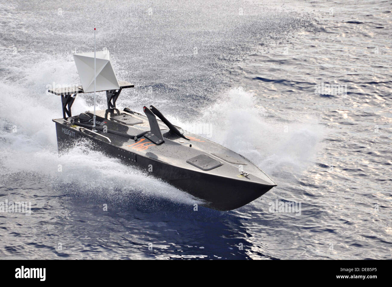 A Canadian Royal Navy Hammerhead unmanned remote controlled vehicle during a live-fire exercise September 10, 2013 in the Caribbean Sea. - Stock Image
