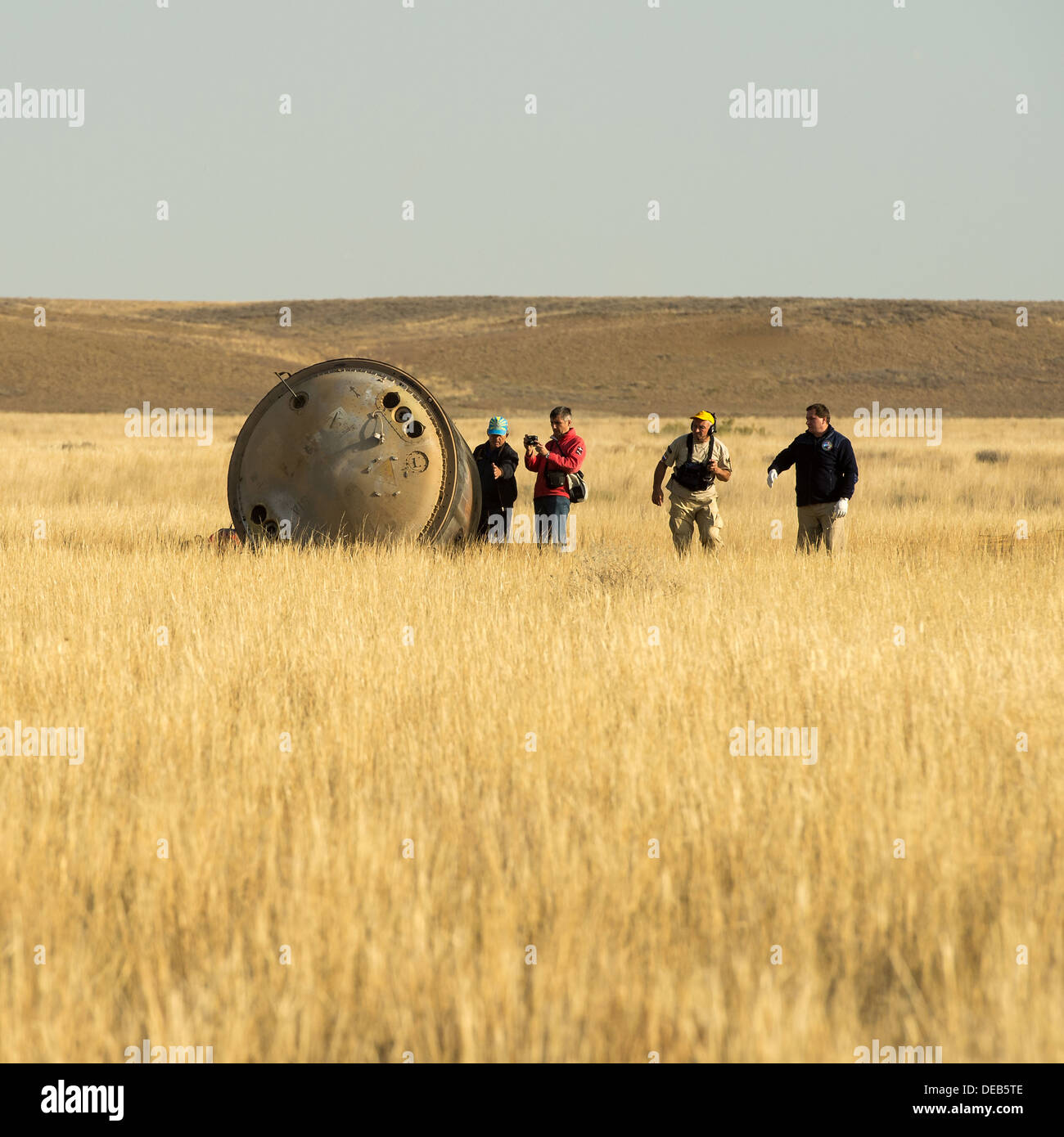 The Soyuz TMA-08M spacecraft after landing with Expedition 36 crew in a remote area September 11, 2013 near the town of Zhezkazgan, Kazakhstan. Vinogradov, Misurkin and Cassidy returned to Earth after five and a half months on the International Space Station. - Stock Image