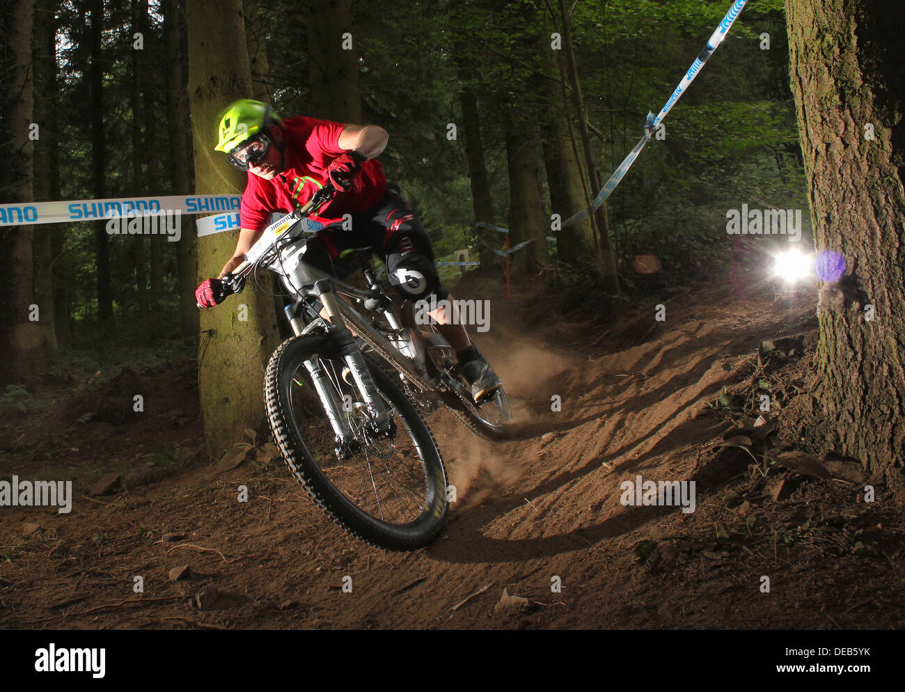 Enduro mountain bike rider at Eastridge UK - Stock Image