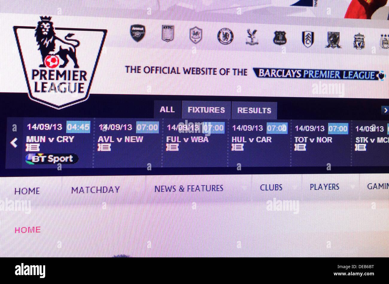 The Premier League website - Stock Image