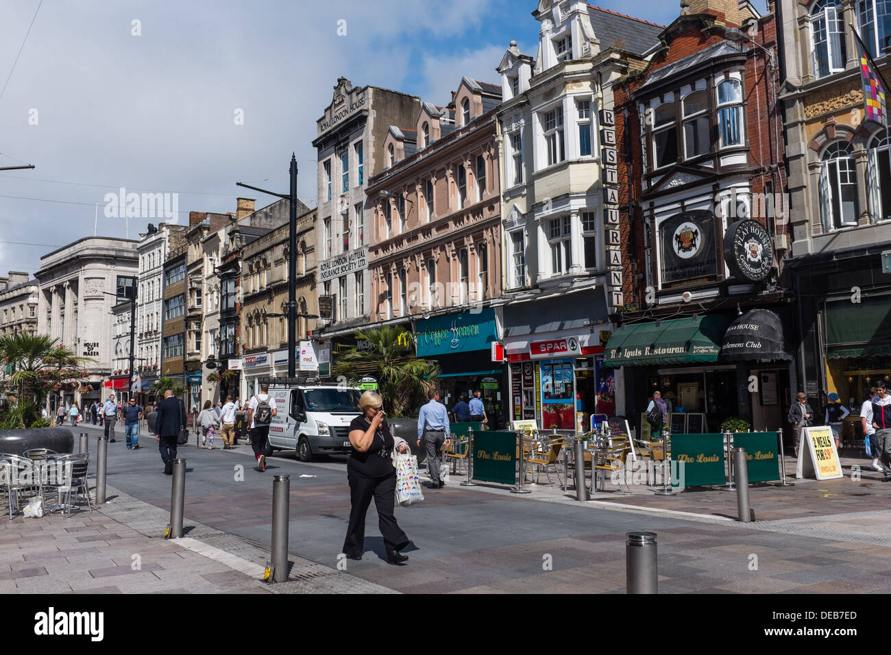 Pedestrianised St Mary's Street, Cardiff city centre, August 2013, Wales UK - Stock Image