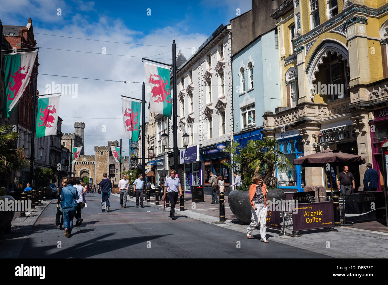 Pedestrianised St Mary's Street, looking towards the Castle, Cardiff city centre, August 2013, Wales UK - Stock Image