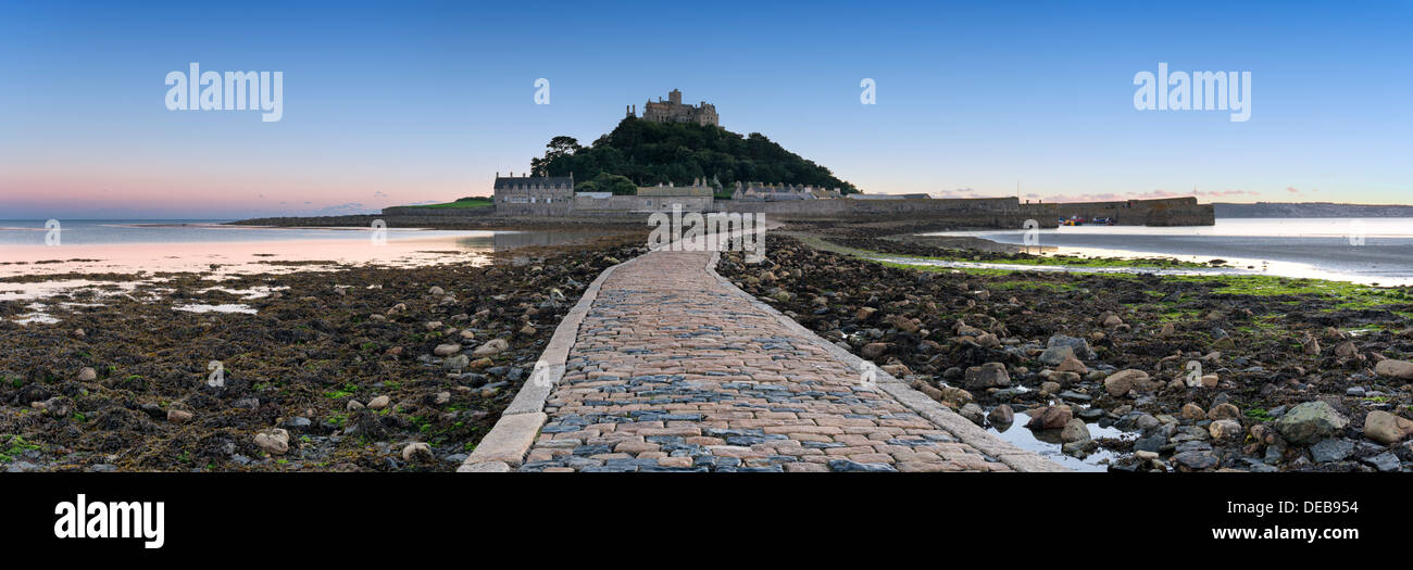 Panoramic view of St Michael's Mount a small isle off Marazion near Penzance in Cornwall - Stock Image