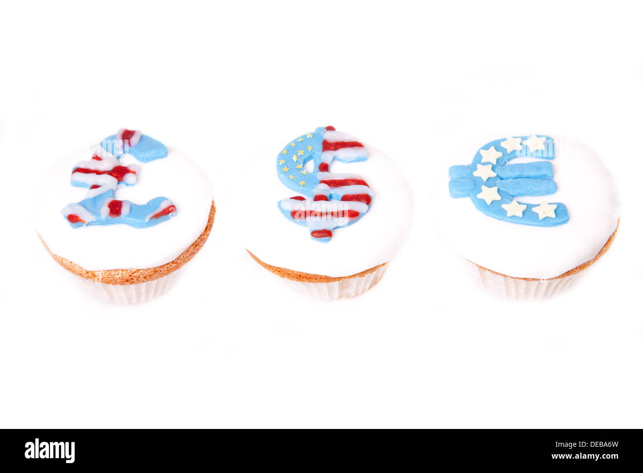 pound dollar and euro signs on cup cakes on white background stock photo alamy https www alamy com pound dollar and euro signs on cup cakes on white background image60485793 html