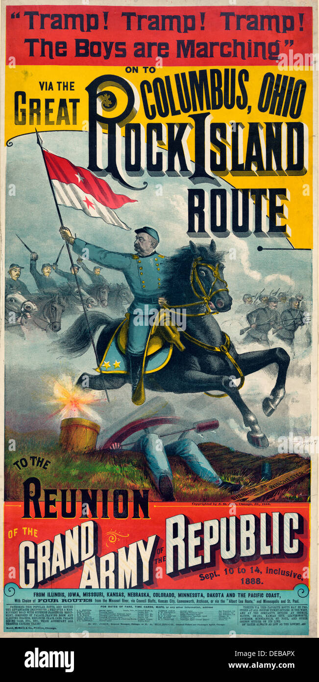 The Great Rock Island route to the reunion of the Grand Army of the Republic, poster circa 1888 Stock Photo