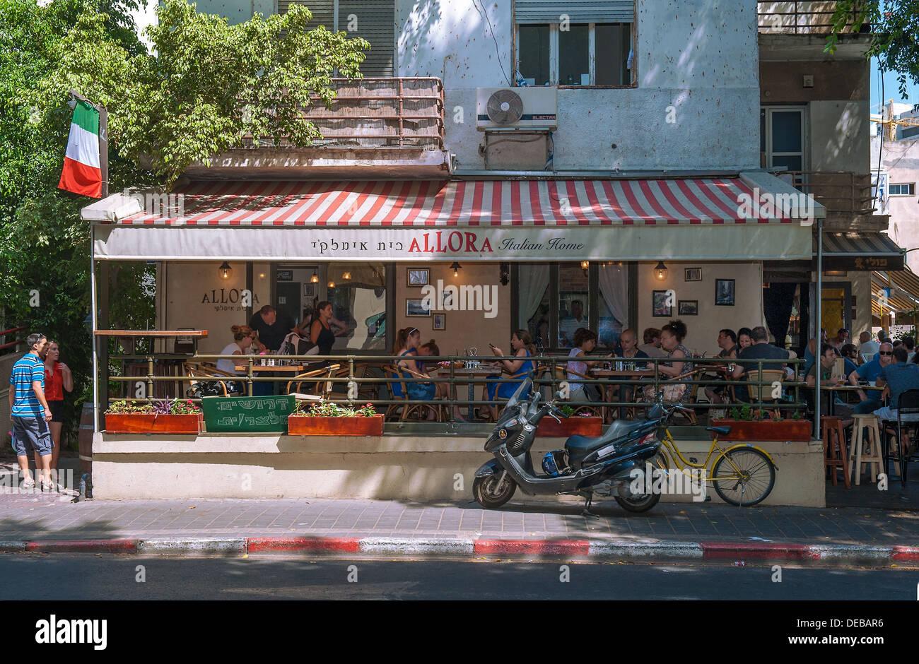 Allora, Italian Caffe & restaurant in Rothschild Boulevard, Tel Aviv, Israel - Stock Image