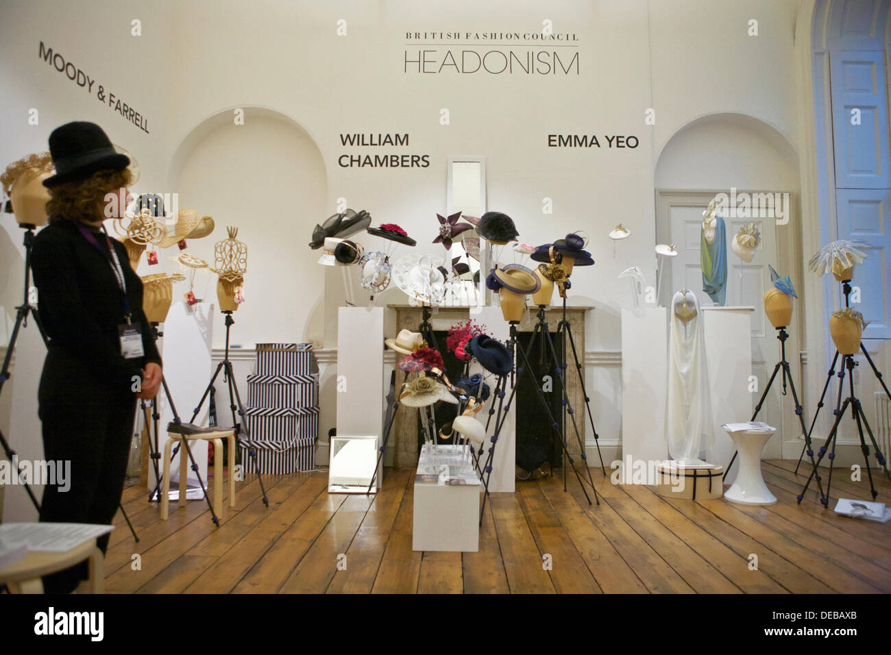 London Fashion Week at Somerset House: latest designs from emerging talent. Hat designers: Moody & Farrell, William Chambers, - Stock Image