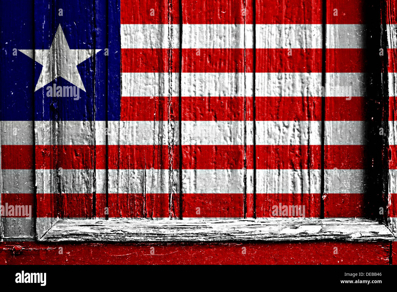 flag of liberia painted on a wooden frame - Stock Image