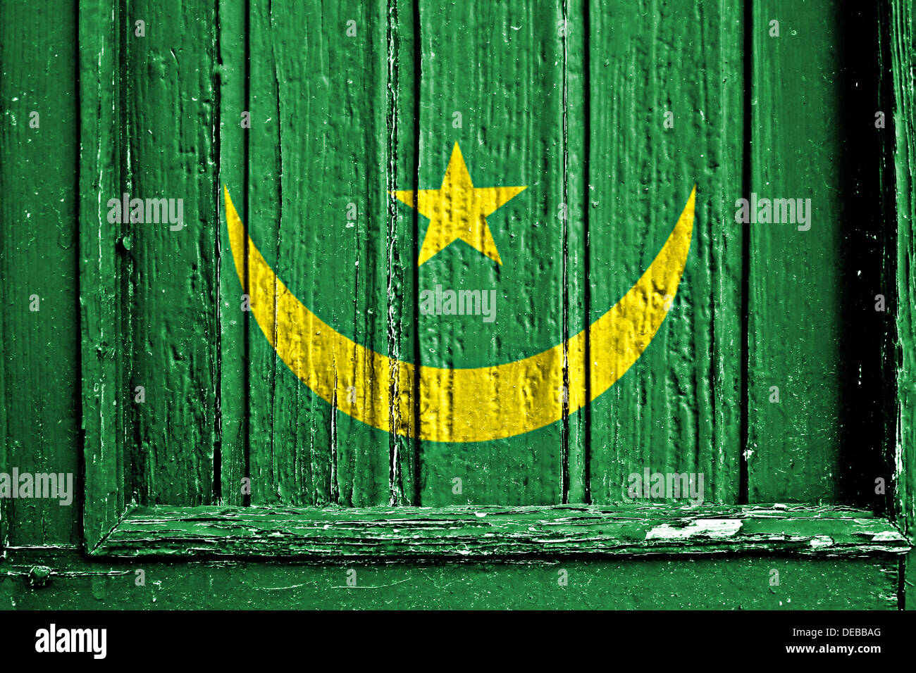 flag of Mauritania painted on wooden frame - Stock Image