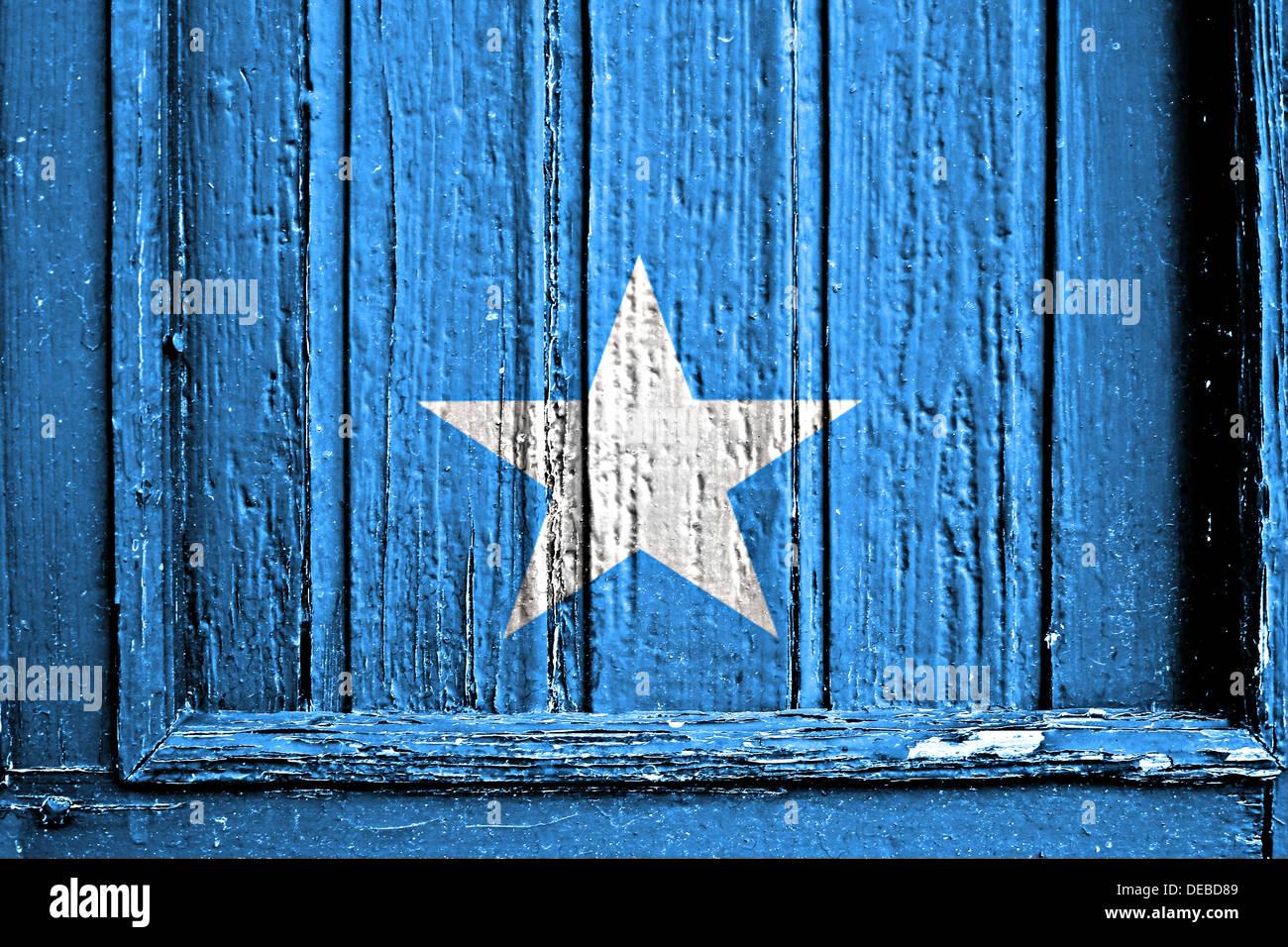 flag of somalia painted on wooden frame - Stock Image