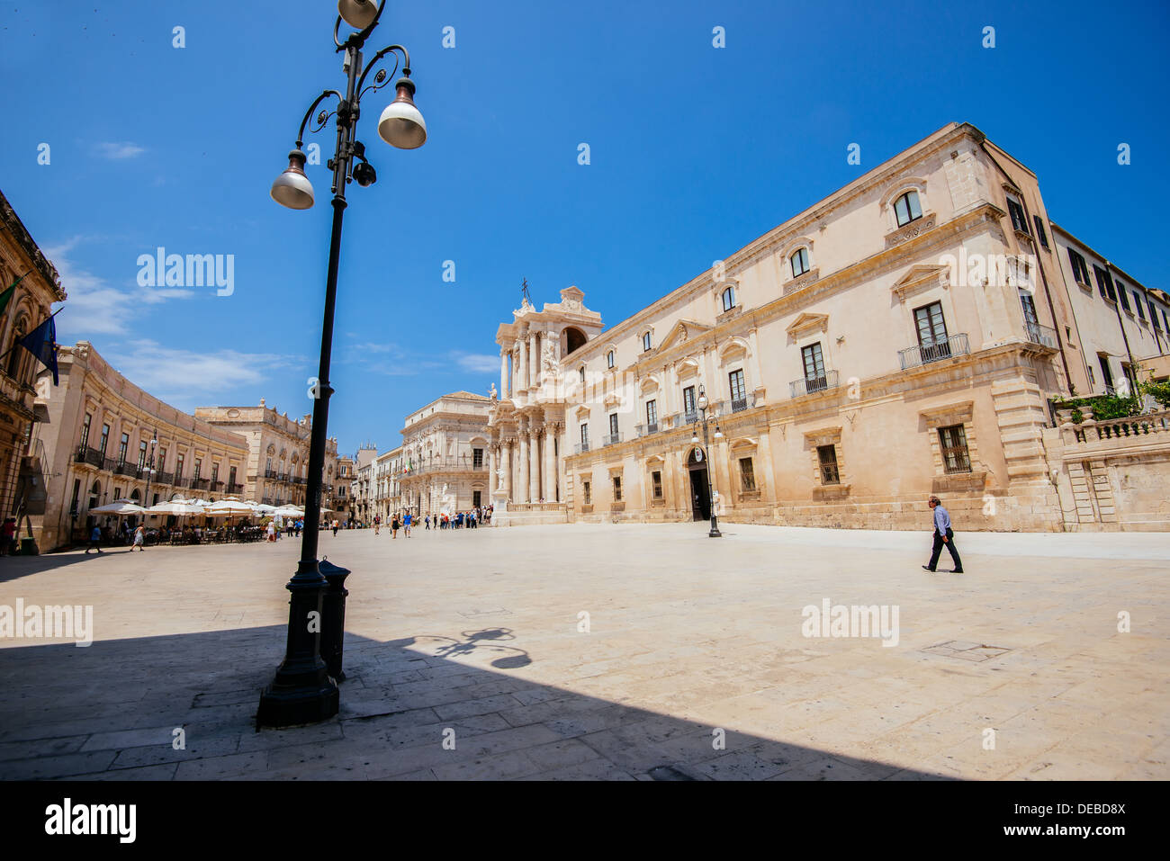 Piazza Duomo at Syracuse in Sicily on sunny day in July. - Stock Image