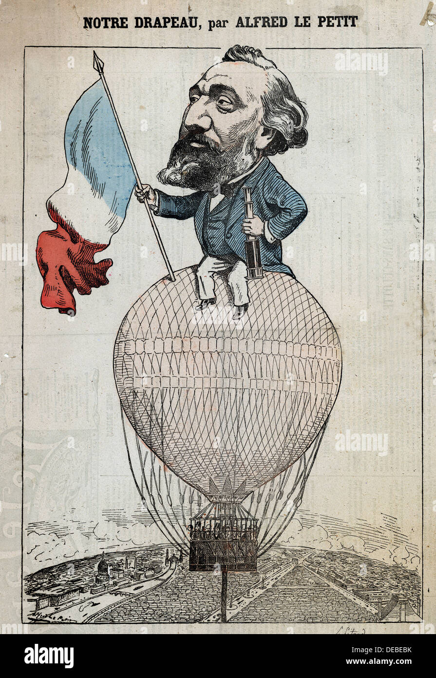 caricature of Léon Gambetta, holding the French flag and a telescope, seated atop a captive balloon; - Stock Image