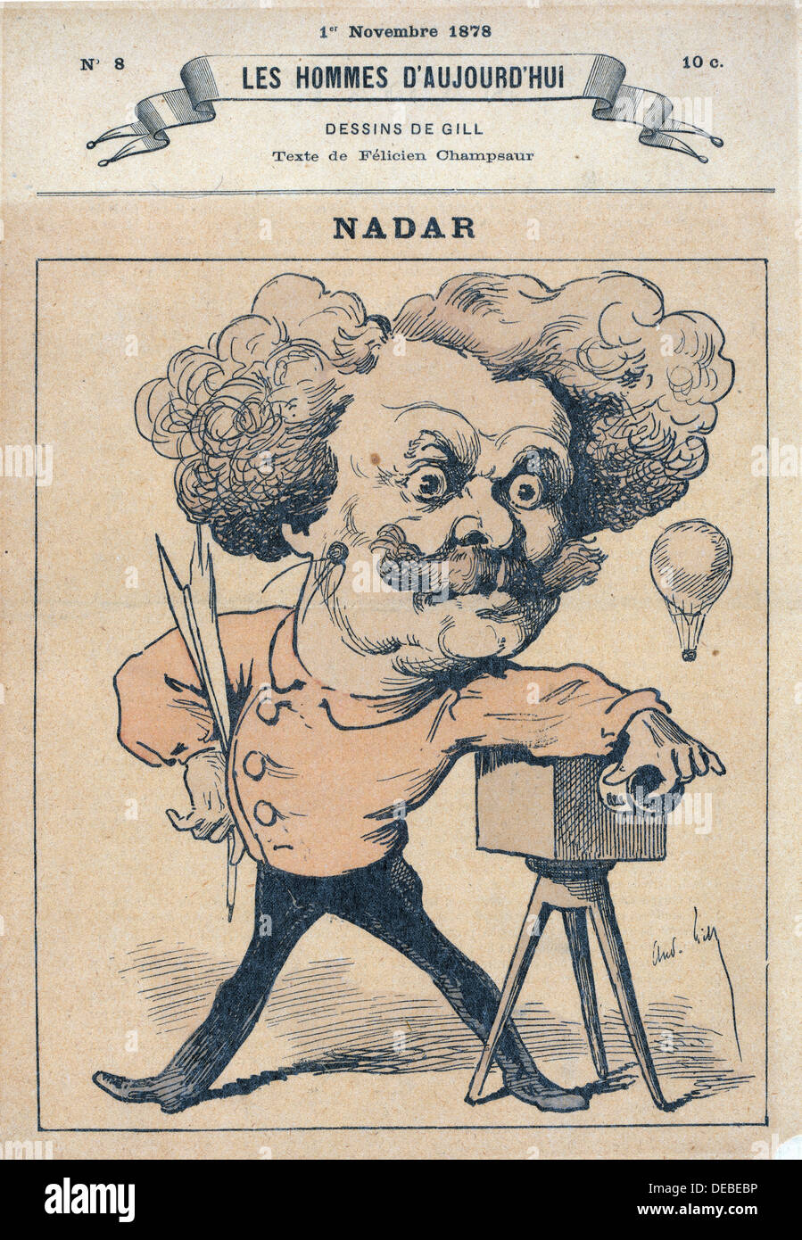 André Gill - French caricature of photographer and balloonist Nadar - 1878 - Stock Image