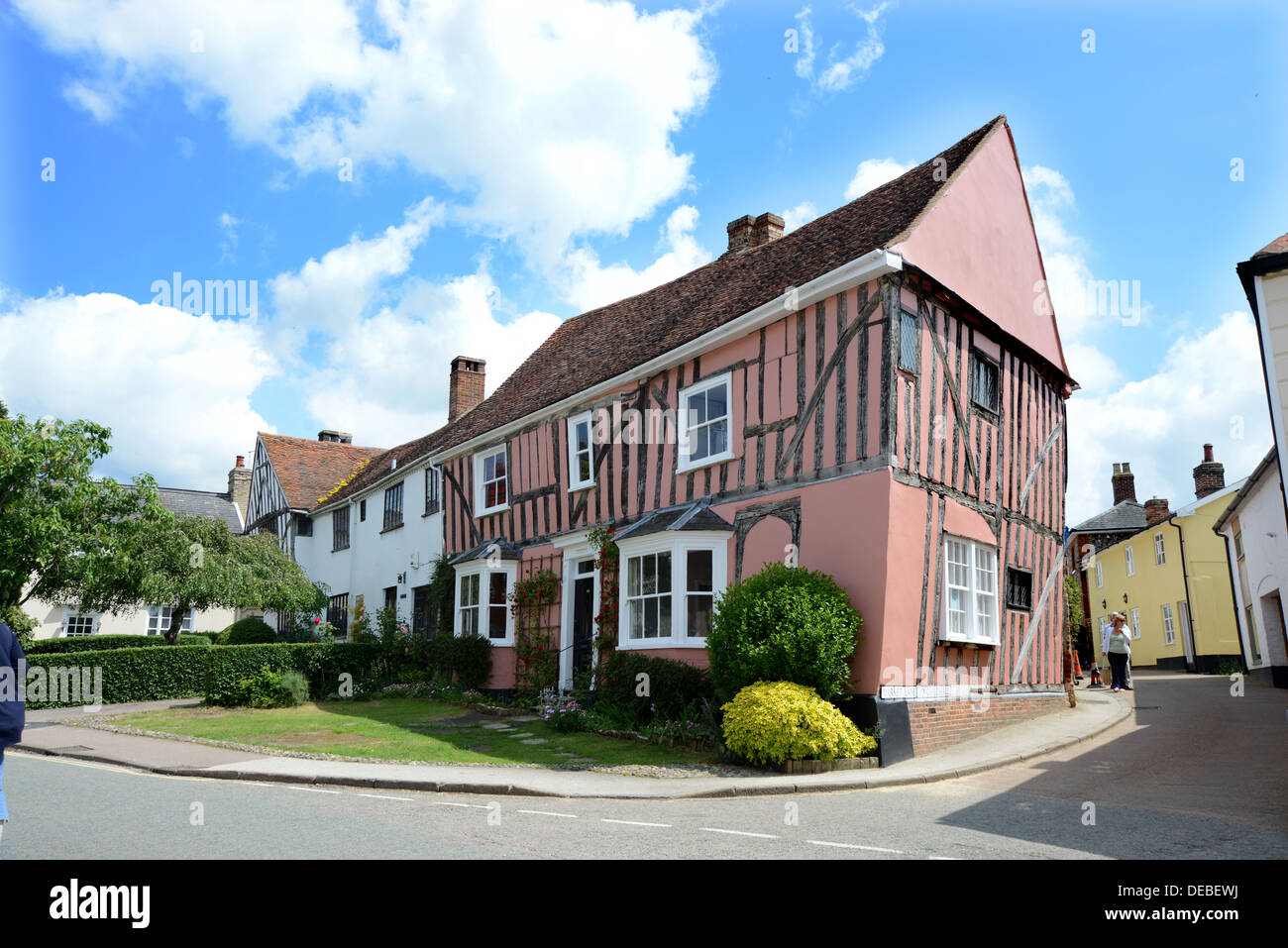 A beautiful historical corner in the Suffolk village of Lavenham - Stock Image