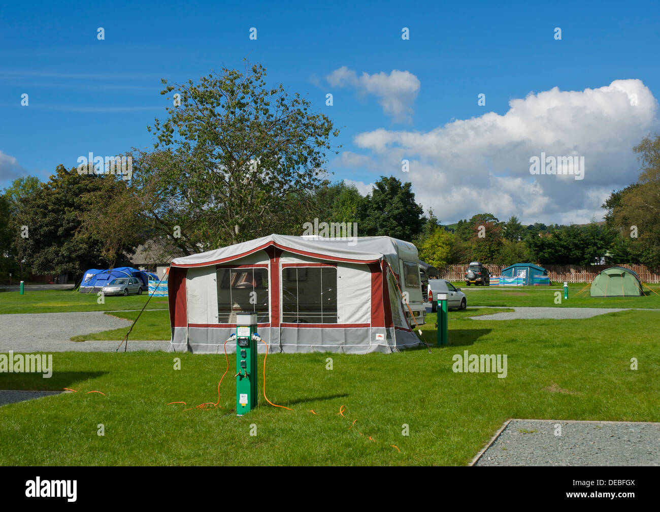 Tents at the Croft campsite in the village of Hawkshead, Lake District National Park, Cumbria, England UK - Stock Image