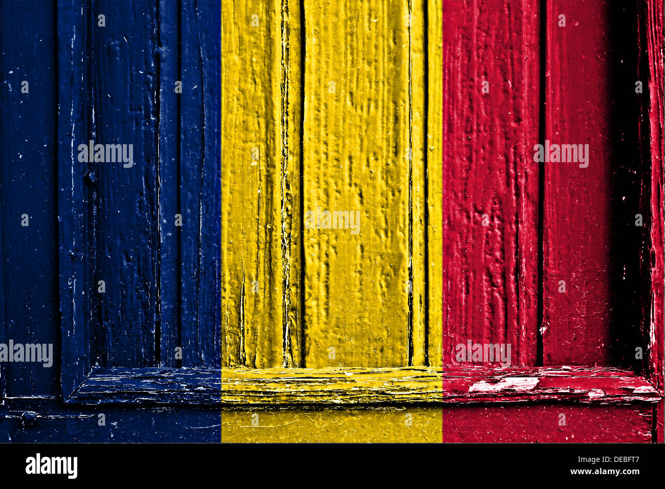 flag of Chad painted on a wooden frame - Stock Image