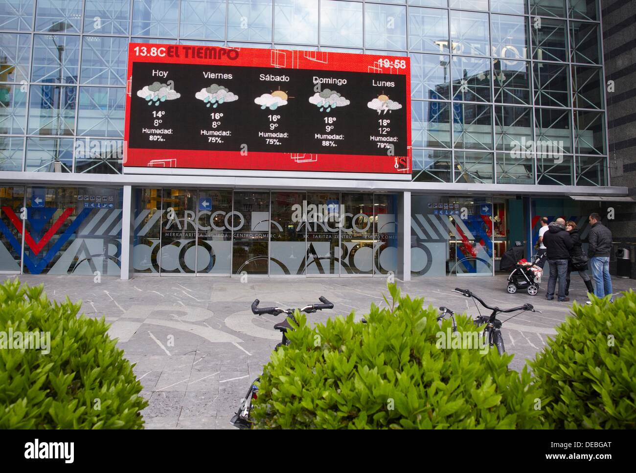 Giant LED TV screen, IPTV (Internet Protocol Television), shopping mall, San Sebastian, Guipuzcoa, Basque Country, Spain - Stock Image