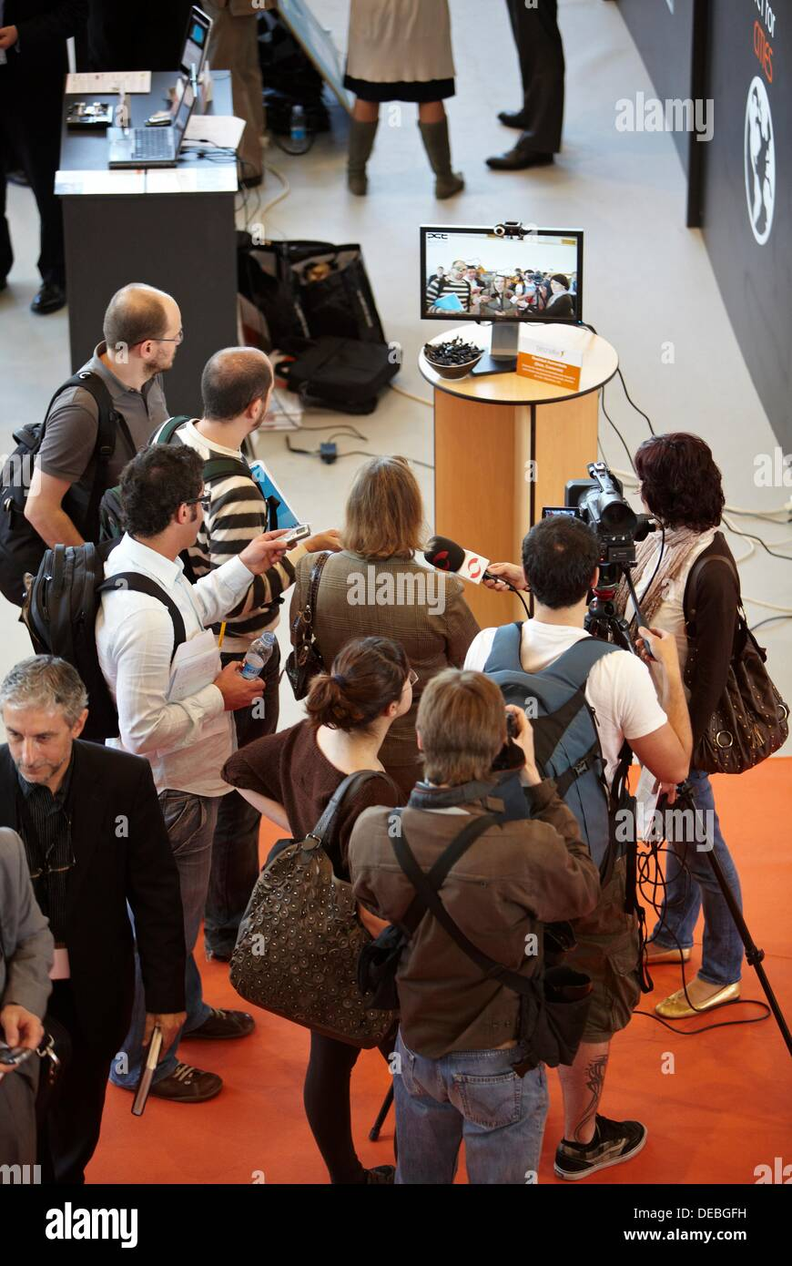 Augmented reality platform for promotional activities, Plugintek connection between Business and Technology (April 27th - 28th, - Stock Image