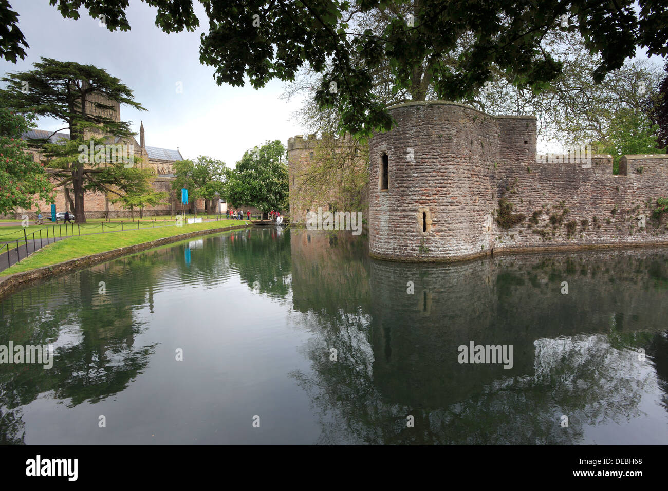Bishops Palace, Wells City, Englands smallest City, Somerset County, England, Britain, UK - Stock Image