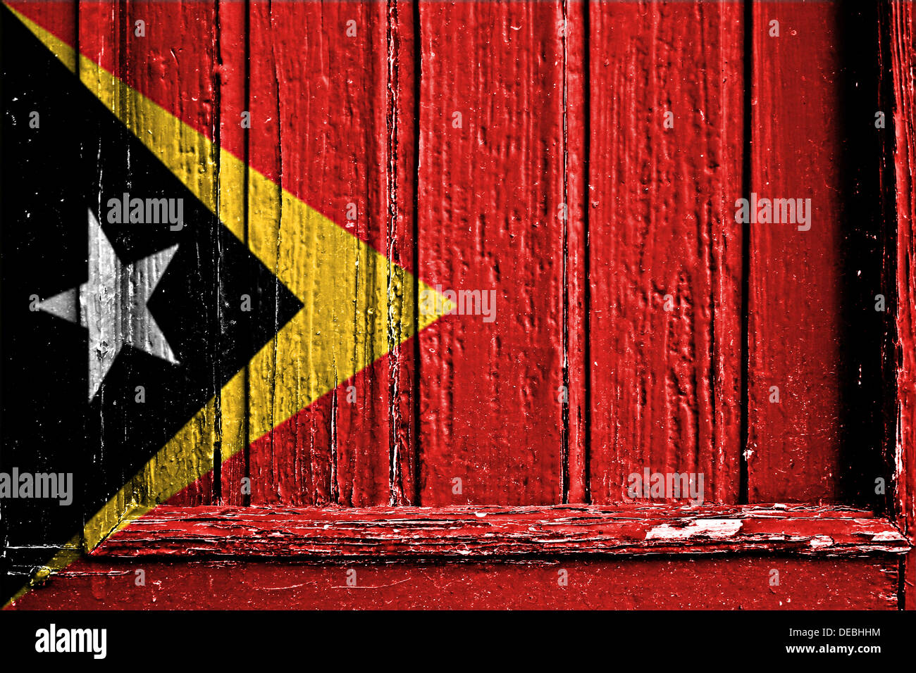 flag of  East Timor painted on a wooden frame - Stock Image