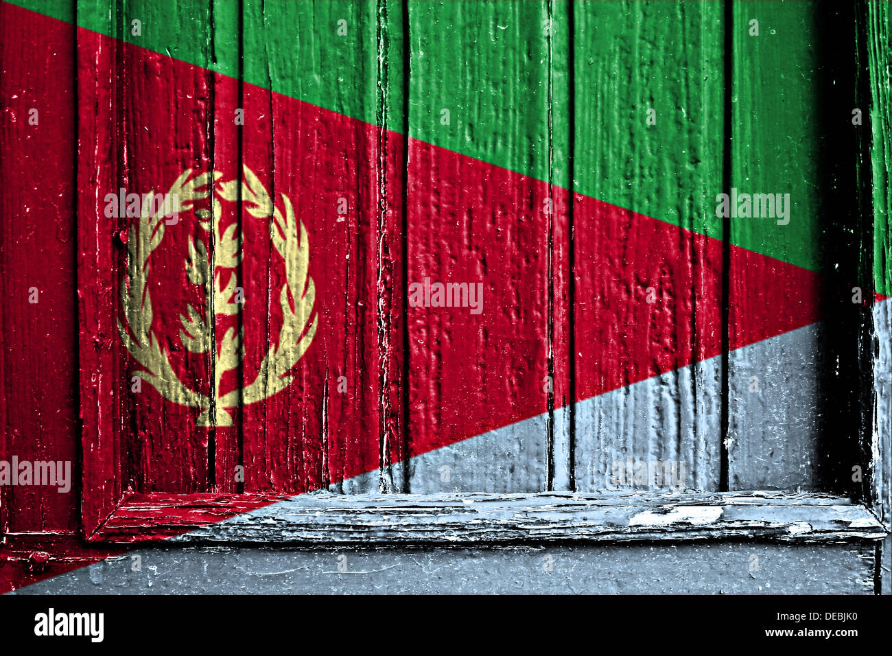 flag of Eritrea painted on a wooden frame - Stock Image