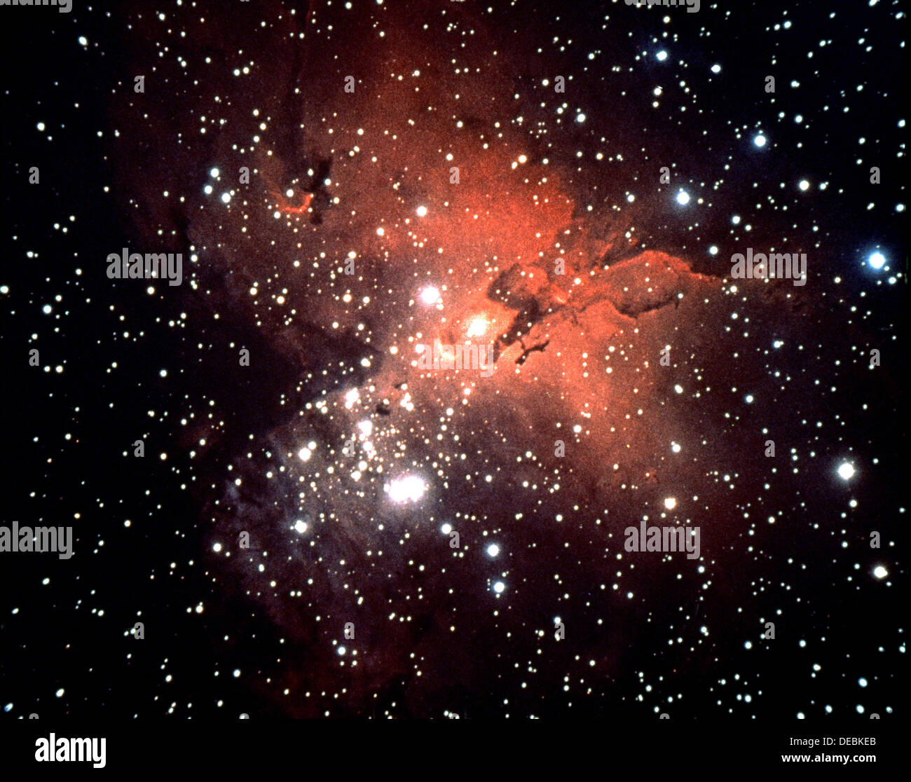 Stars and red colour in night sky