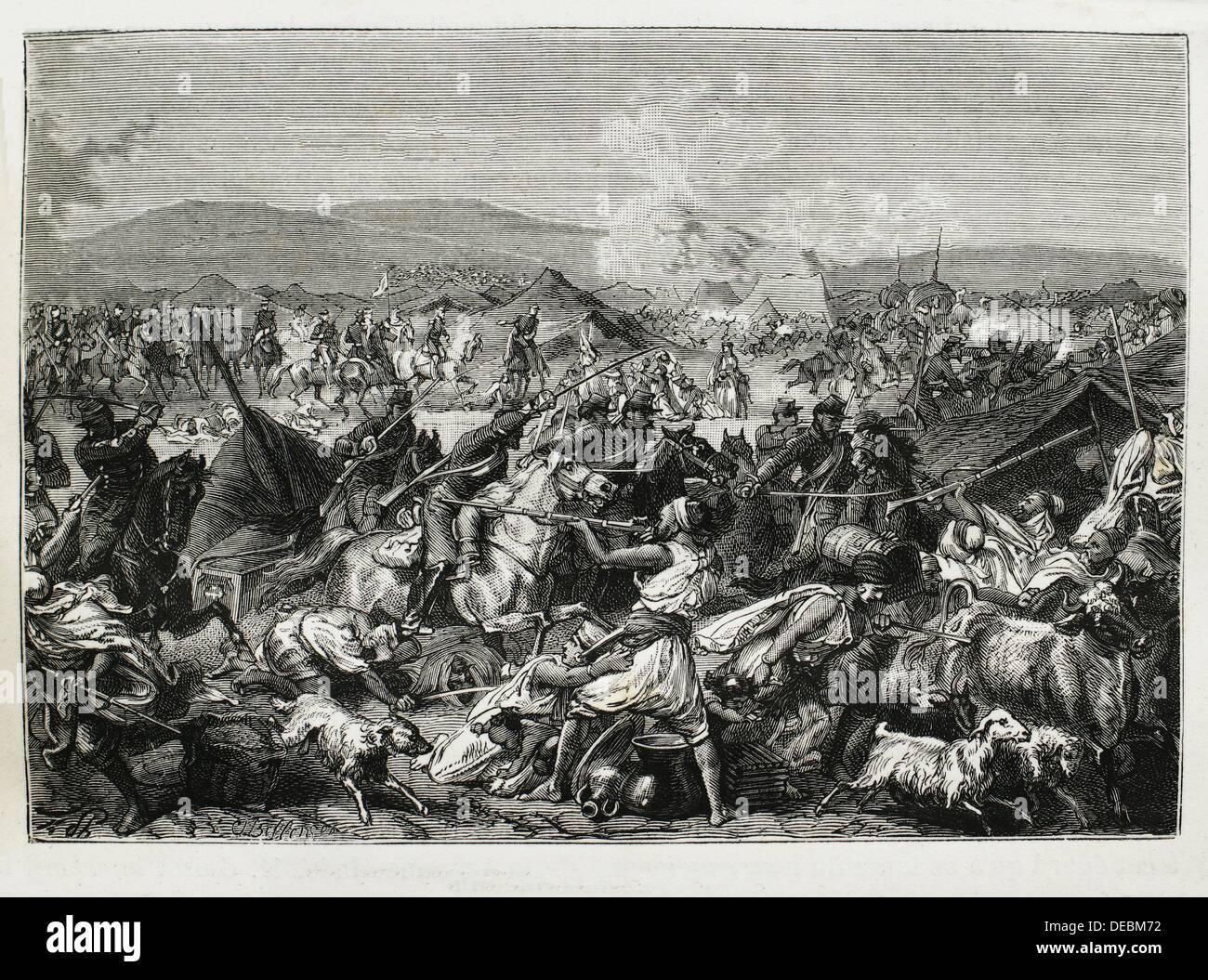 French army taking the ´smalah´ of Abd-el-Kader on 16 May 1843 at Petit-Desert, Algeria - Stock Image