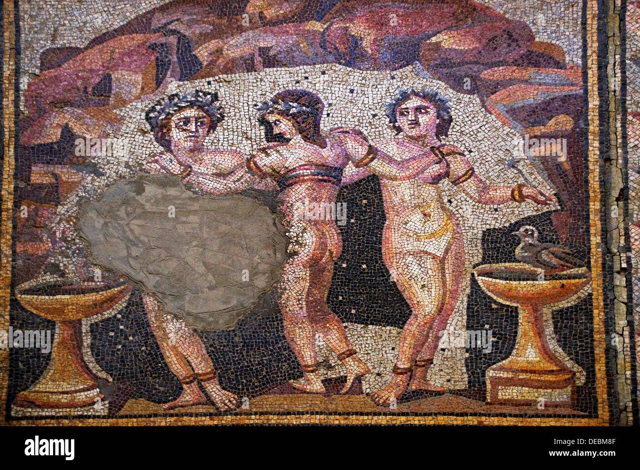 Syria, Hauran, Museum of Shahba: detail of the mosaic of the Three Graces, 3rd Century - Stock Image