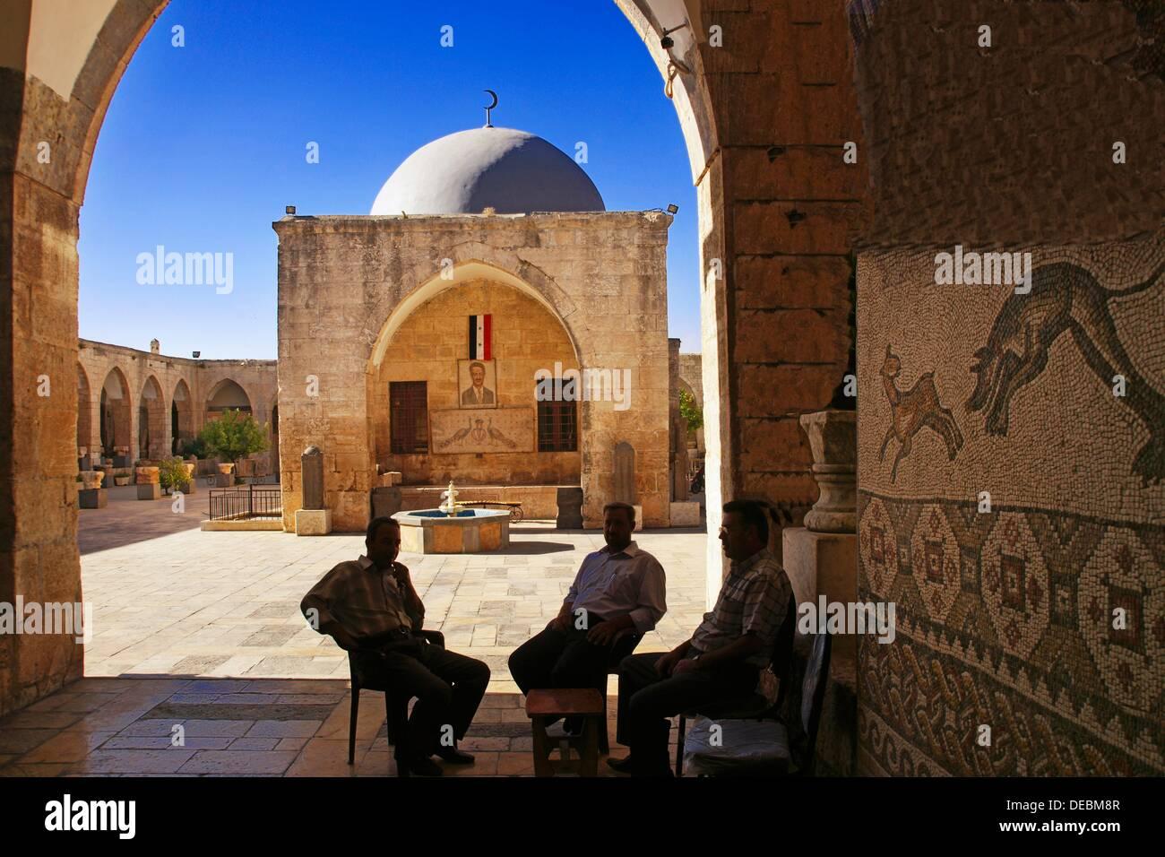 Inside the Khan Murat Basha (16th century) home to the city museum, Maarat al-Numaan, Syria - Stock Image