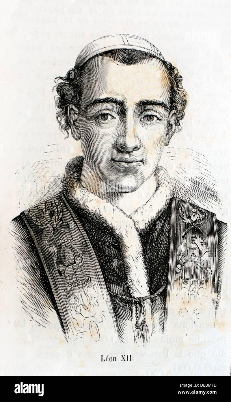 History, 19th Century. Pope Leo XII 22 August 1760 - 10 February 1829, born Annibale Francesco Clemente Melchiore Girolamo - Stock Image