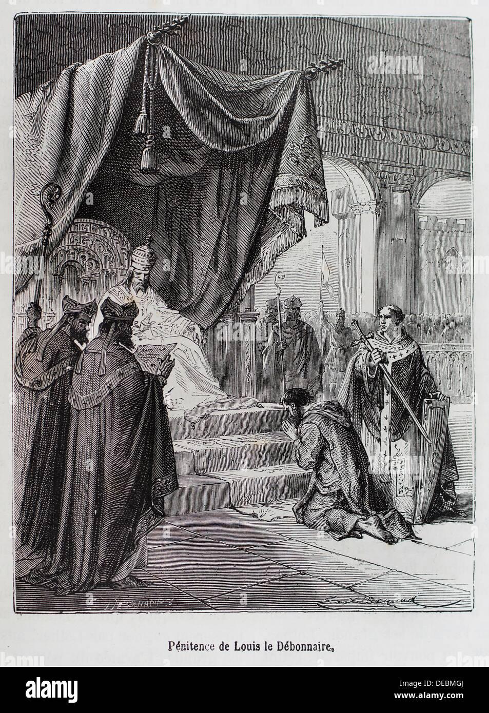 France-History- ´ Pénitence de Louis le Débonnaire ´-Louis the Pious 778 – 20 June 840, also called the Fair, and Stock Photo