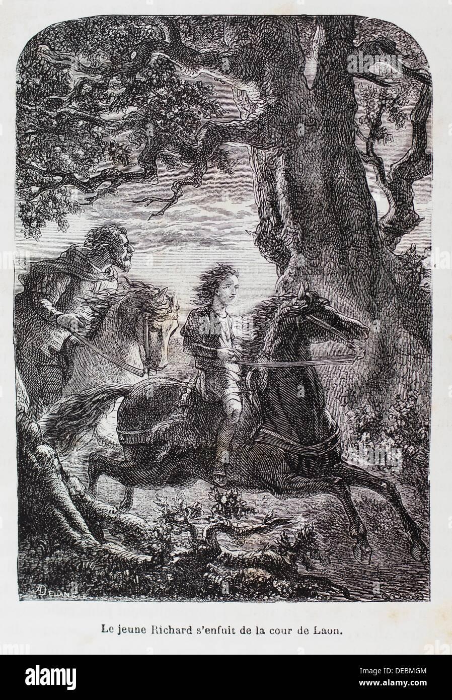 France-History- ´ Le jeune Richard s´enfuit de la cour de Laon ´  - Richard I of Normandy born 28 - Stock Image
