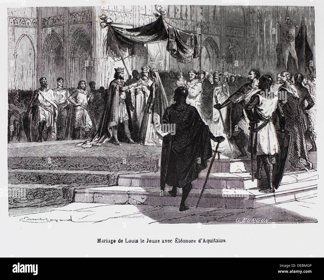 France-History- ´ Mariage de Louis le Jeune avec Ëléonore d´Aquitaine´ - Louis VII called the Younger or the Young French: - Stock Image