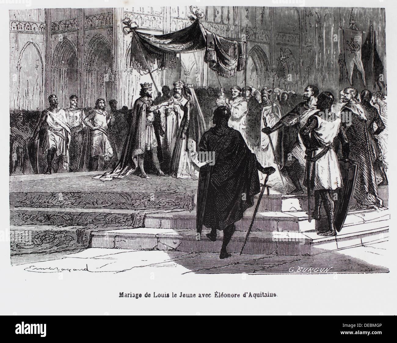 France-History- ´ Mariage de Louis le Jeune avec Ëléonore d´Aquitaine´ - Louis VII called - Stock Image