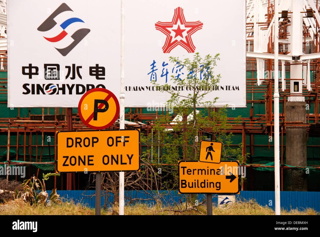 Chineses companies building the Gaborone International Airport, Botswana - Stock Image