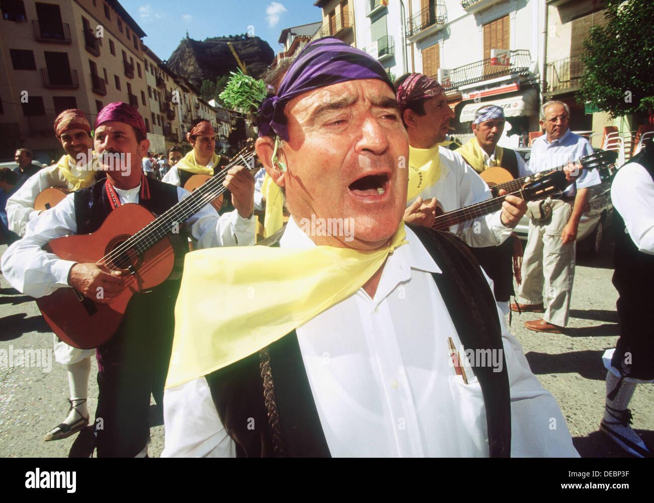 Folk music during local festivity. Graus. Huesca province. Spain - Stock Image
