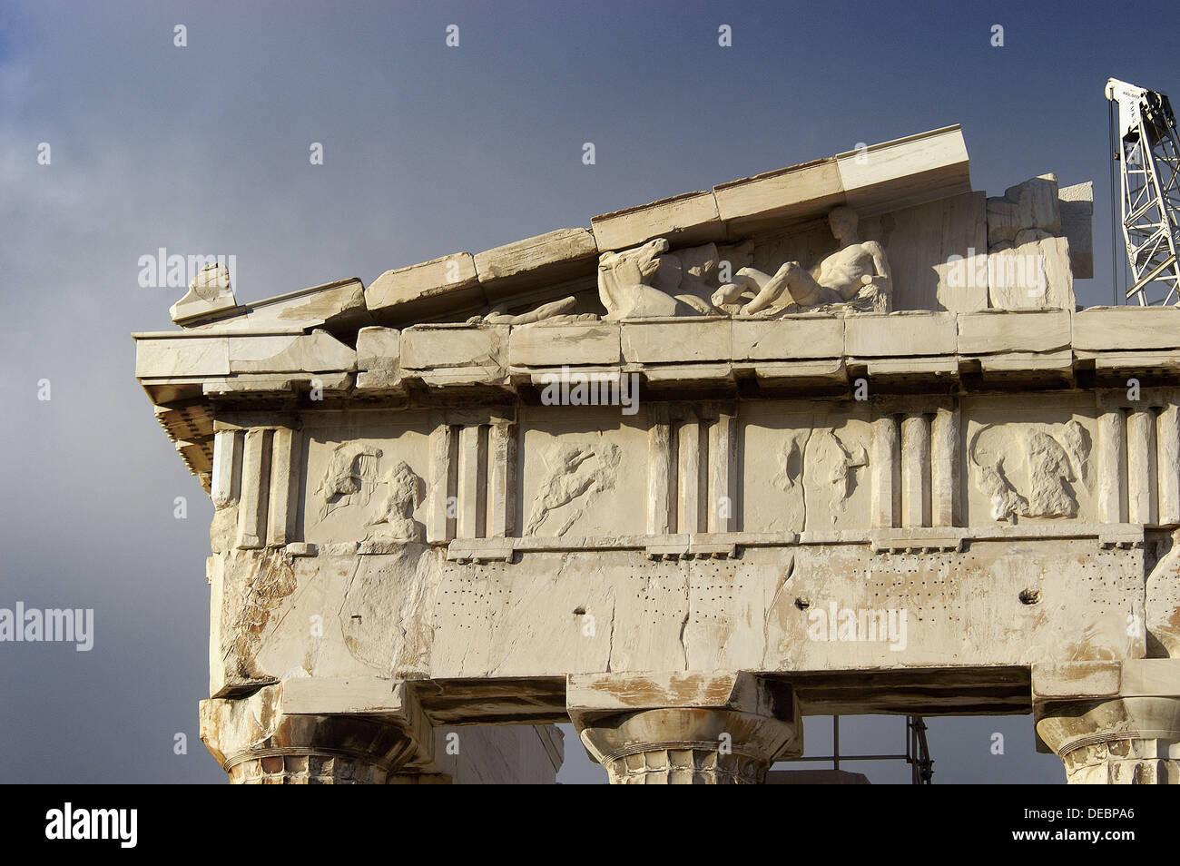 Detail of the entablature. Parthenon. Acropolis. Athens. Greece - Stock Image