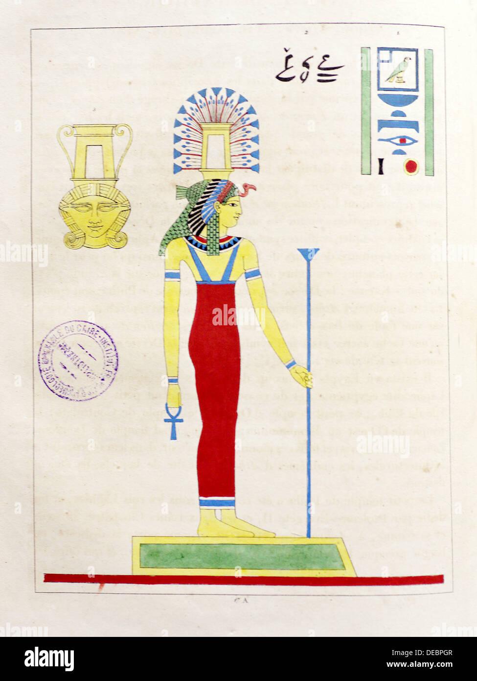Page of ´Panthéon égyptien, ou collection des personnages mythologiques de l´ancienne Égypte´ (1823-25; Egyptian Pantheon, or - Stock Image