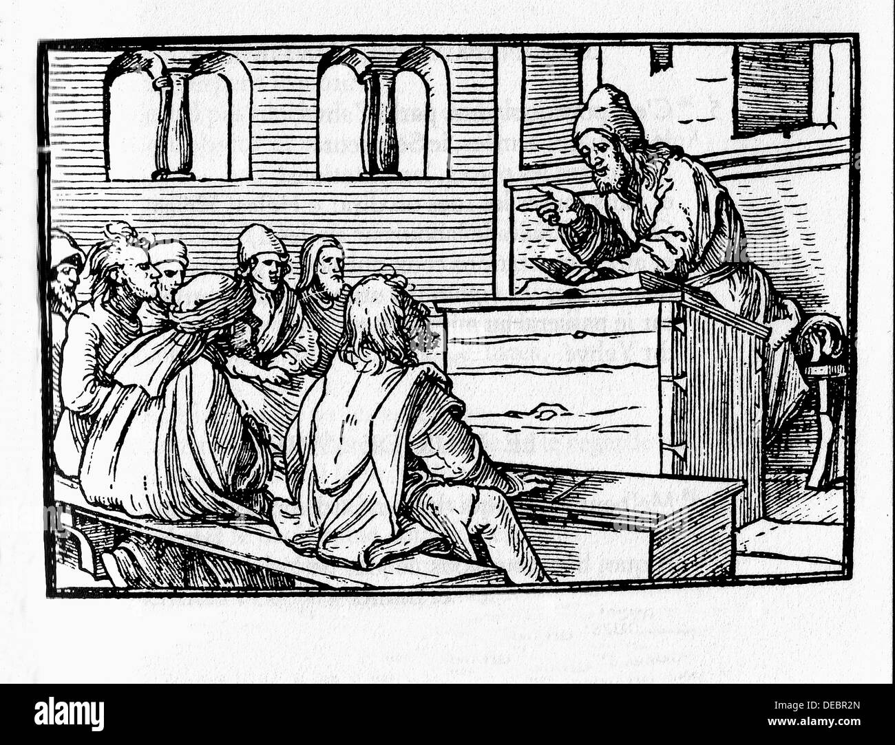 Minor prophets of the Bible: Amos. Engraving by Holbein. Lyon, 1547 - Stock Image