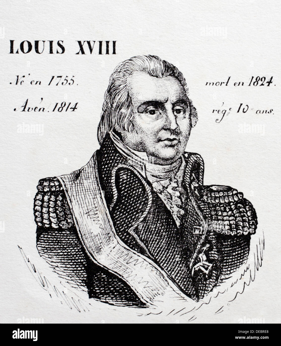 Louis XVIII, king of France from 1814 to 1824. History of France, by  J.Henry (Paris, 1842) - Stock Image