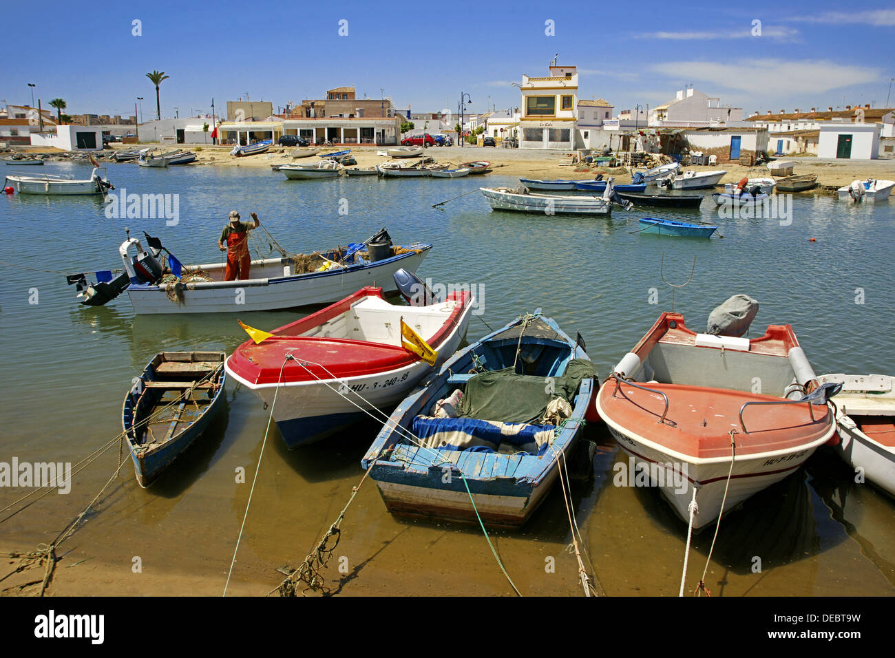 Fishing harbour at Punta del Moral on Isla Canela, Ayamonte, Huelva province, Andalusia, Spain - Stock Image