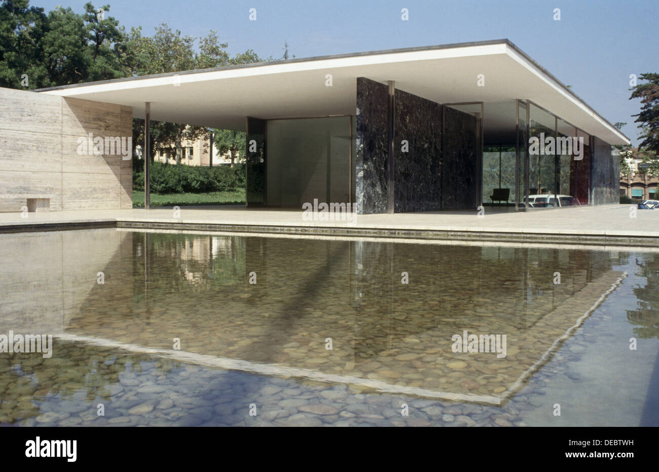 German Pavilion 1929 By Mies Van Der Rohe Barcelona Spain Stock