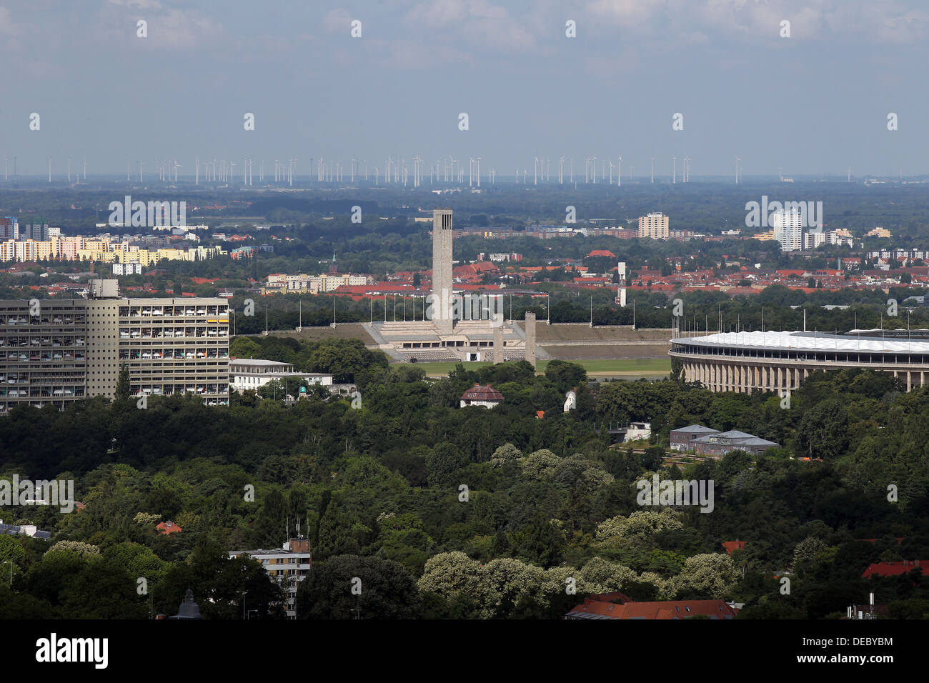 Berlin, Germany, May Field of sight with bell tower - Stock Image